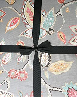 Tablecloth Fabric Jacobean Floral Pattern In Shades Of Yellow Orange Red  Pink Green On Gray,