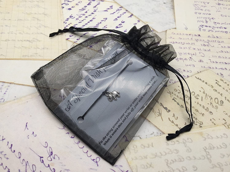 Unisex Hemp with Silver Tone Charm on Printed Card Adjustable Little Star Purple Wish Bracelet