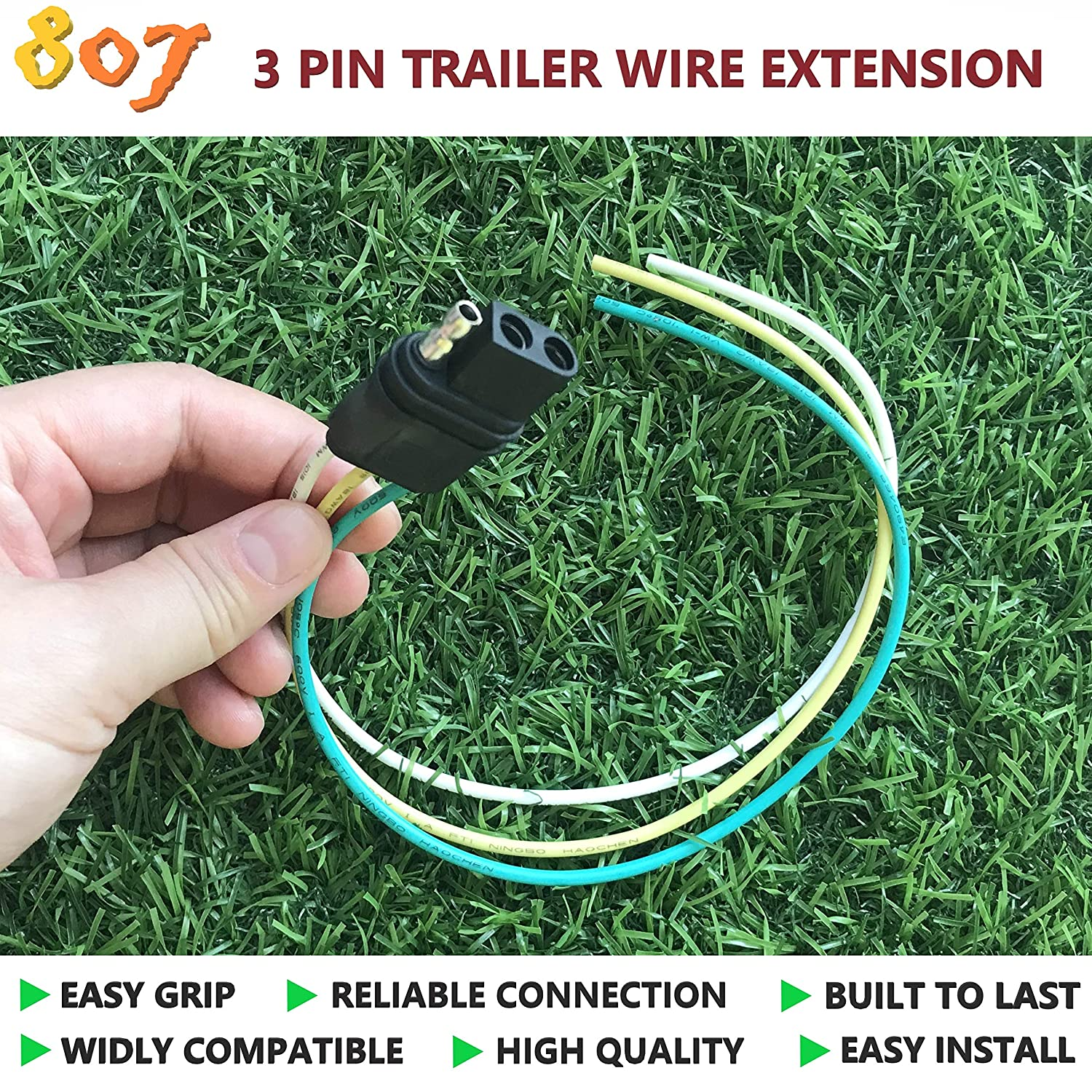 amazon com bbtree 807 3 pin flat plug with trailer3 prong switch wiring diagram