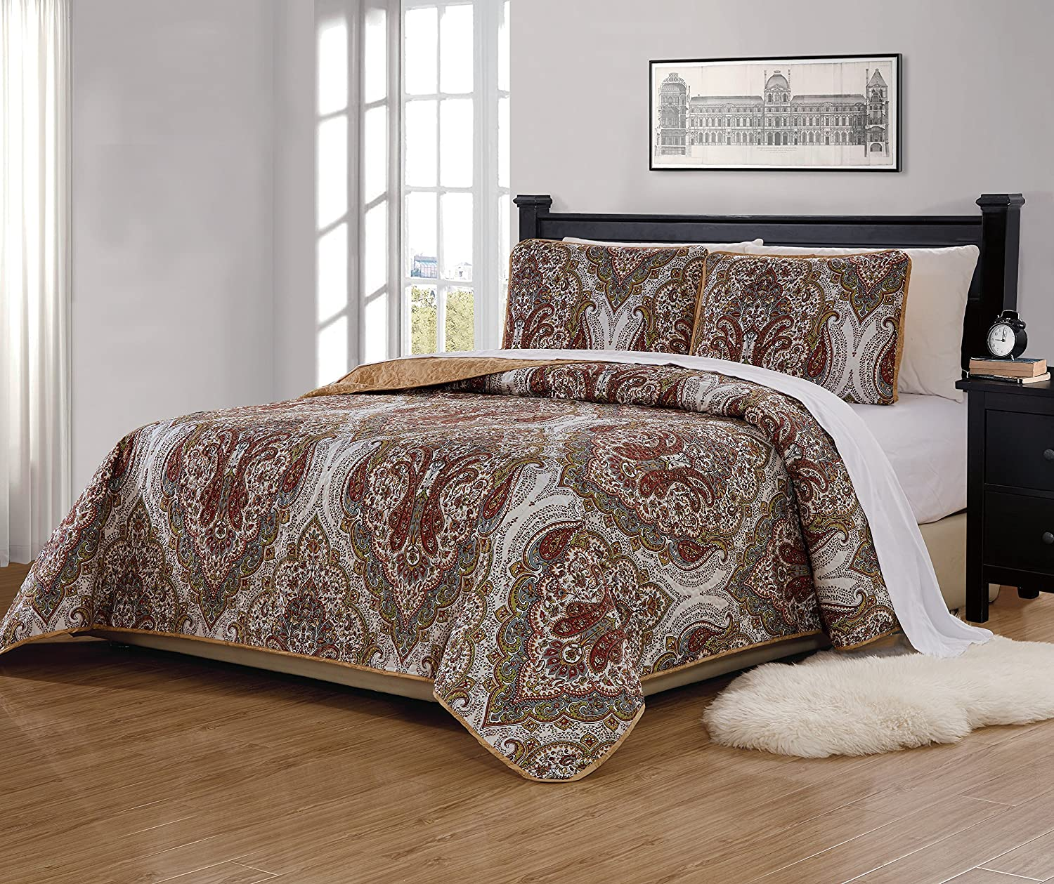 Mk Home 3pc Full/Queen Bedspread Quilted Print Floral White Brown Green Reversible Taupe Over Size New # Portia 66