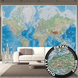Large Photo Wallpaper – World Map – Picture Decoration Miller Projection Plastically Relief Design Earth Atlas Globe Continents Image Decor Wall Mural (132.3x93.7in - 336x238cm)