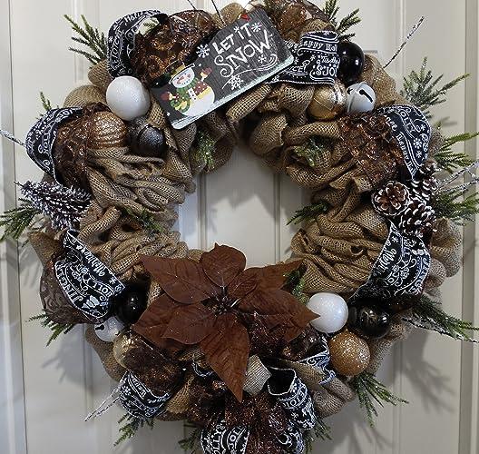burlap christmas wreath rustic christmas wreath christmas decor burlap wreath natural colors - Christmas Burlap Wreath