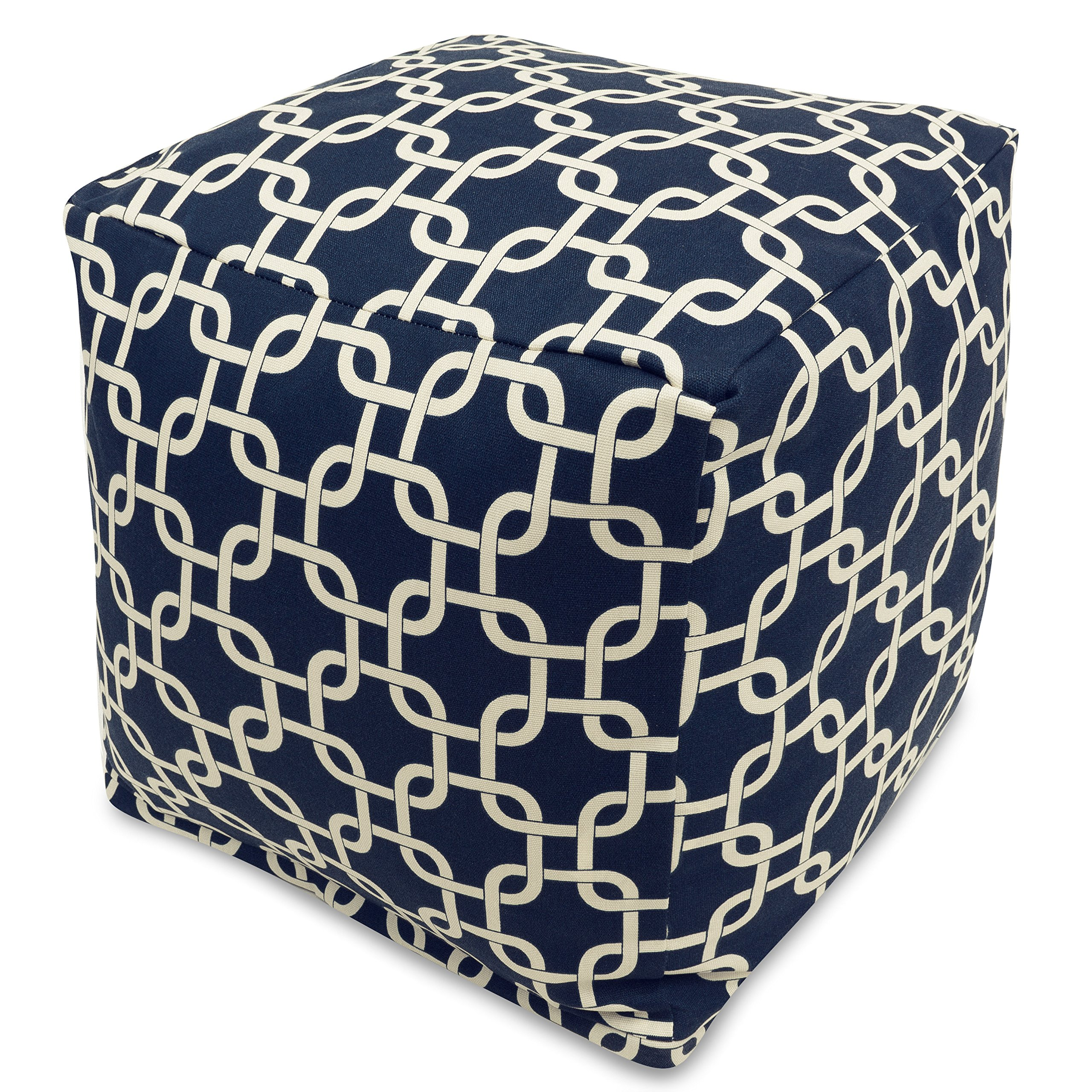 Majestic Home Goods Links Indoor/Outdoor Bean Bag Ottoman Pouf Cube, 17'' x 17'' x 17'' (Navy Blue)