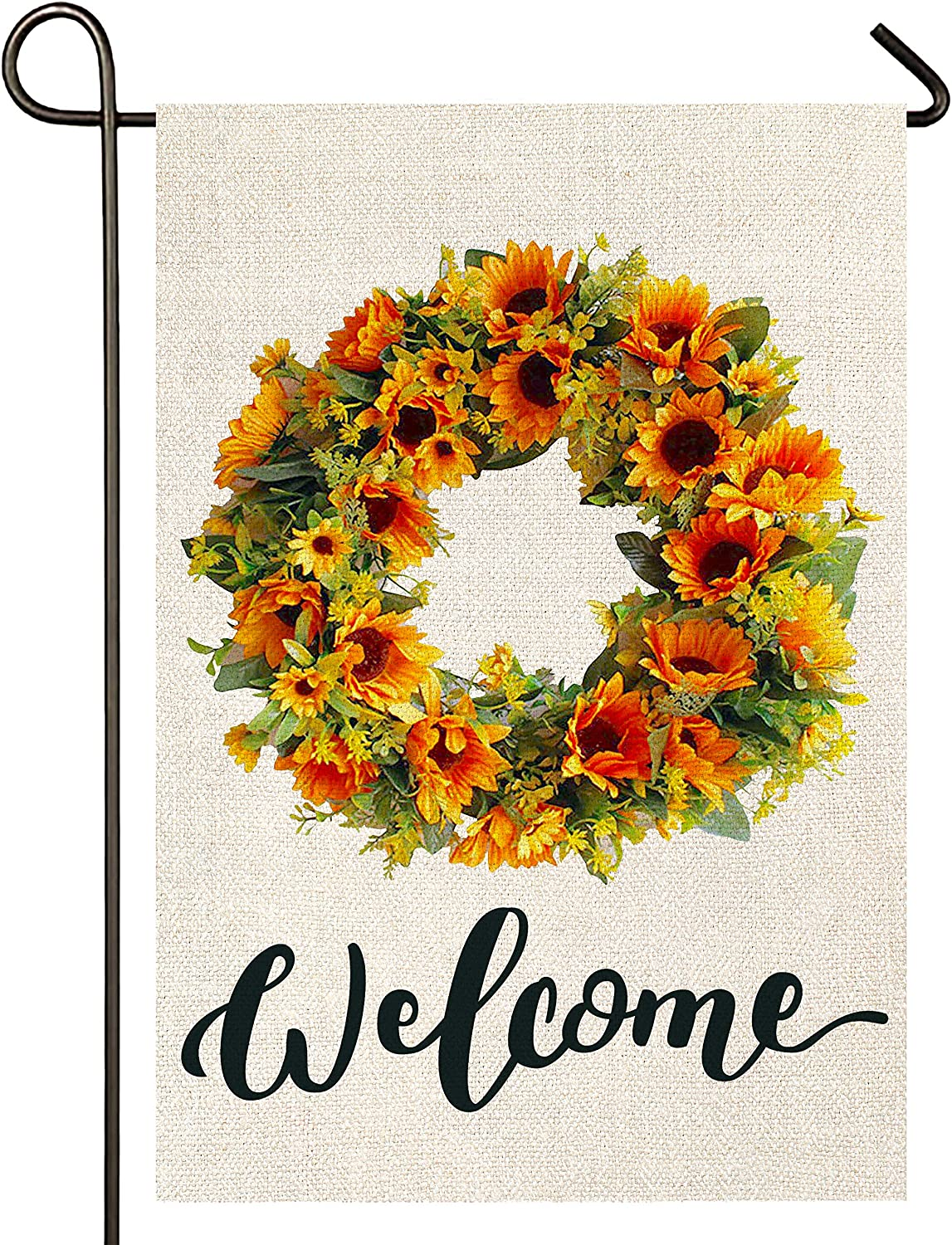 Atenia Sunflower Garden Burlap Flag, Double Sided Sunflower Wreath Welcome Sign Garden Outdoor Yard Flags for Summer Decor (Garden Size - 12.5X18)