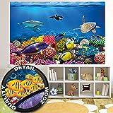 Fototapete Aquarium Wandbild Dekoration farbenfrohe Unterwasserwelt Meeresbewohner Ozean Fische Delphin Korallen-Riff Clownfisch   Foto-Tapete Wandtapete Fotoposter Wanddeko by GREAT ART (210x140 cm)