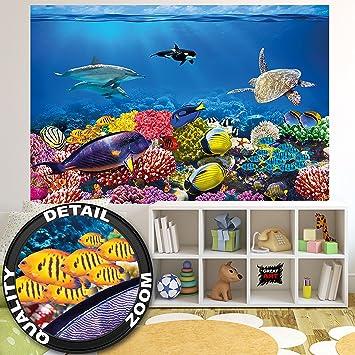 Fototapete Aquarium Wandbild Dekoration Farbenfrohe Unterwasserwelt Meeresbewohner Ozean Fische Delphin Korallen Riff Clownfisch Foto