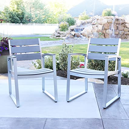 WE Furniture All Weather Patio Dining Chairs (Set Of 2), Grey