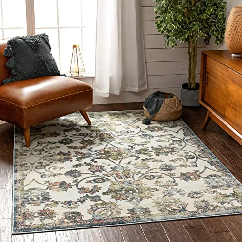 Well Woven Atlas Blue Distressed Floral Oriental Pattern Area Rug 9×13 9'3″ x 12'6″