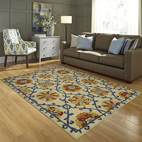Area Rugs, Maples Rugs Made in USA Tricia Artwork Collection 7 x 10 Non Slip Padded Large Rug for Living Room, Bedroom, and Dining Room