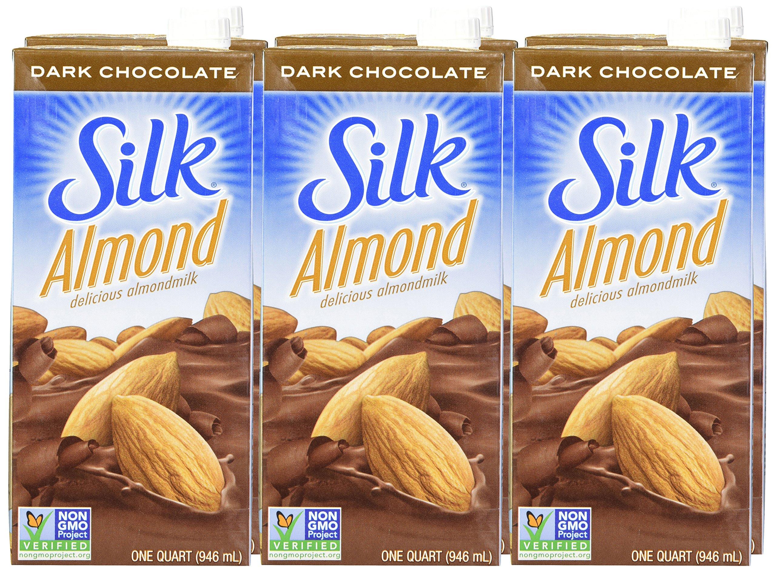 Silk Almond Milk Dark Chocolate 32 oz (Pack of 6) Shelf Stable, Dark Chocolate Flavored Non-Dairy Almond Milk, Individually Packaged by Silk (Image #2)
