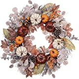 Valery Madelyn Fall Wreath for Front Door 24 inch, Harvest Wreaths with Pumpkin, Pine Cone, Berry Clusters, Maple Leaves…