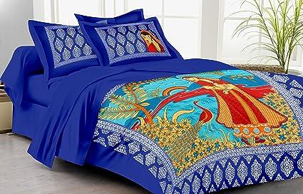 Superior Lali Prints 185 TC Cotton Single Bedsheet With 2 Pillow Covers   Multicolour
