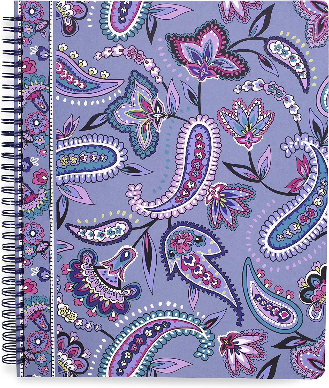 Vera Bradley Large Spiral Notebook with Pocket and 160 Lined Pages, Makani Paisley