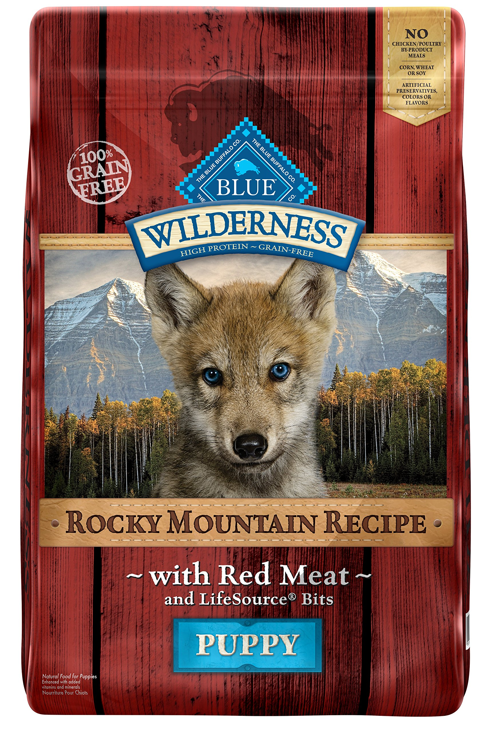 BLUE Wilderness Rocky Mountain Recipe Puppy Grain Free Red Meat Dry Dog Food 22-lb