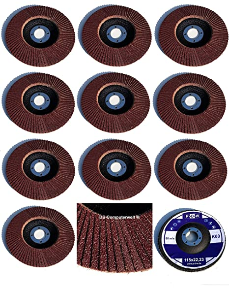 10 Fächerscheiben Braun 115 x 22,23 mm Korn 80 gekröpft Holz Stahl Lack