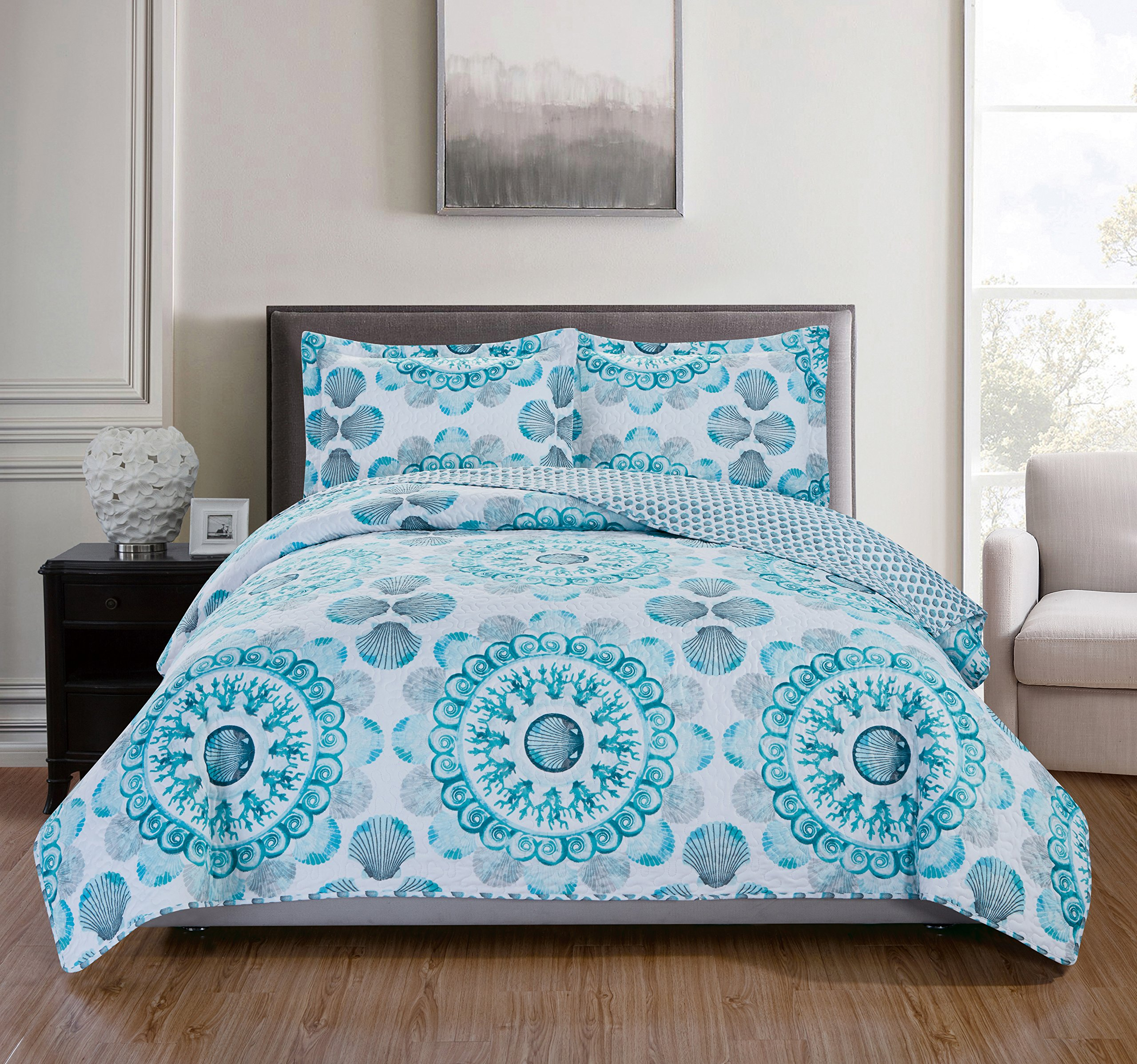 RT Designers Collection 3 Piece Jamesport Reversible Quilt Set, King, Aqua/Grey/Turquoise/White