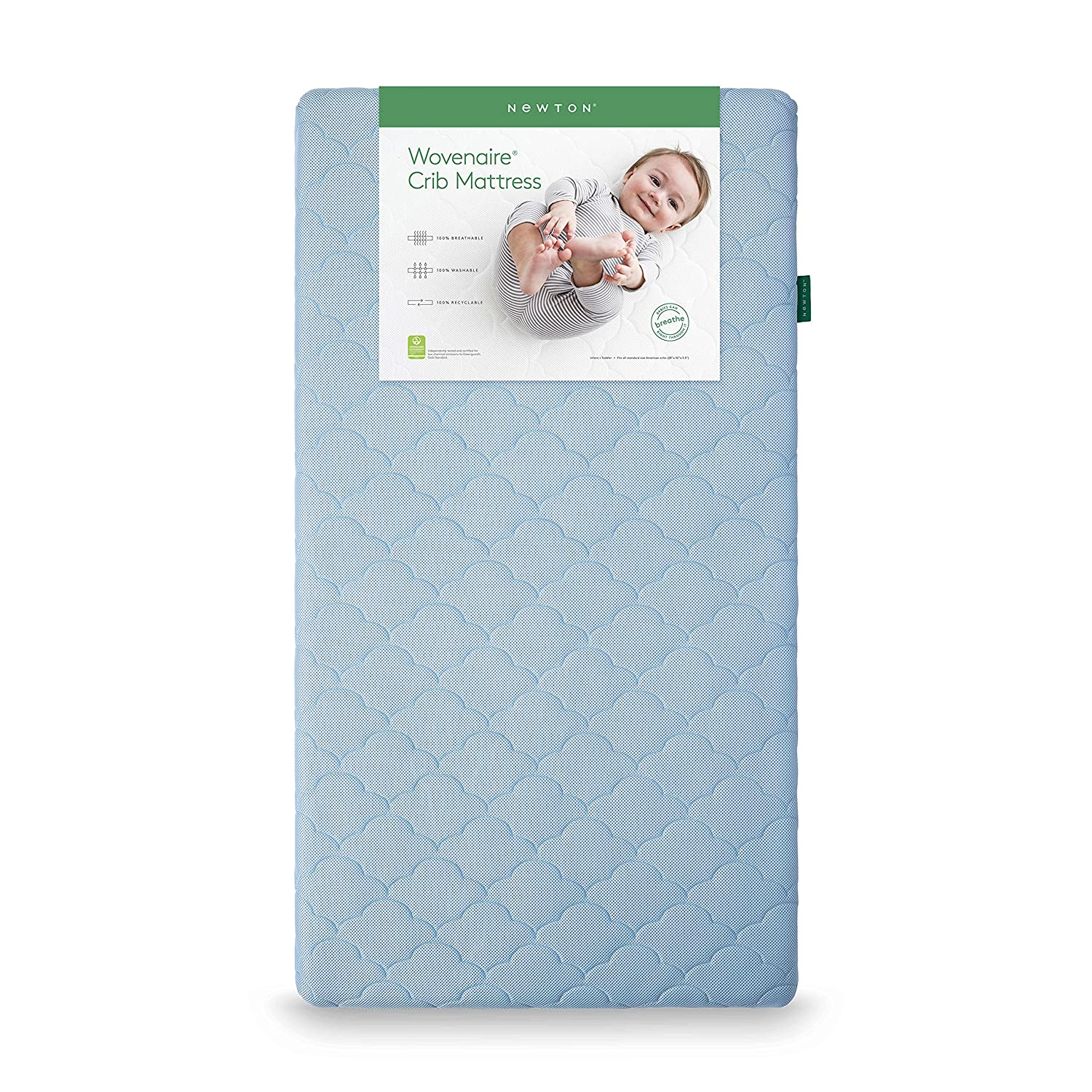 Newton Baby Crib Mattress and Toddler Bed | 100% Breathable Proven to Reduce Suffocation Risk, 100% Washable, Hypoallergenic, Non-Toxic, Better Than Organic - Sky Blue 10003CR