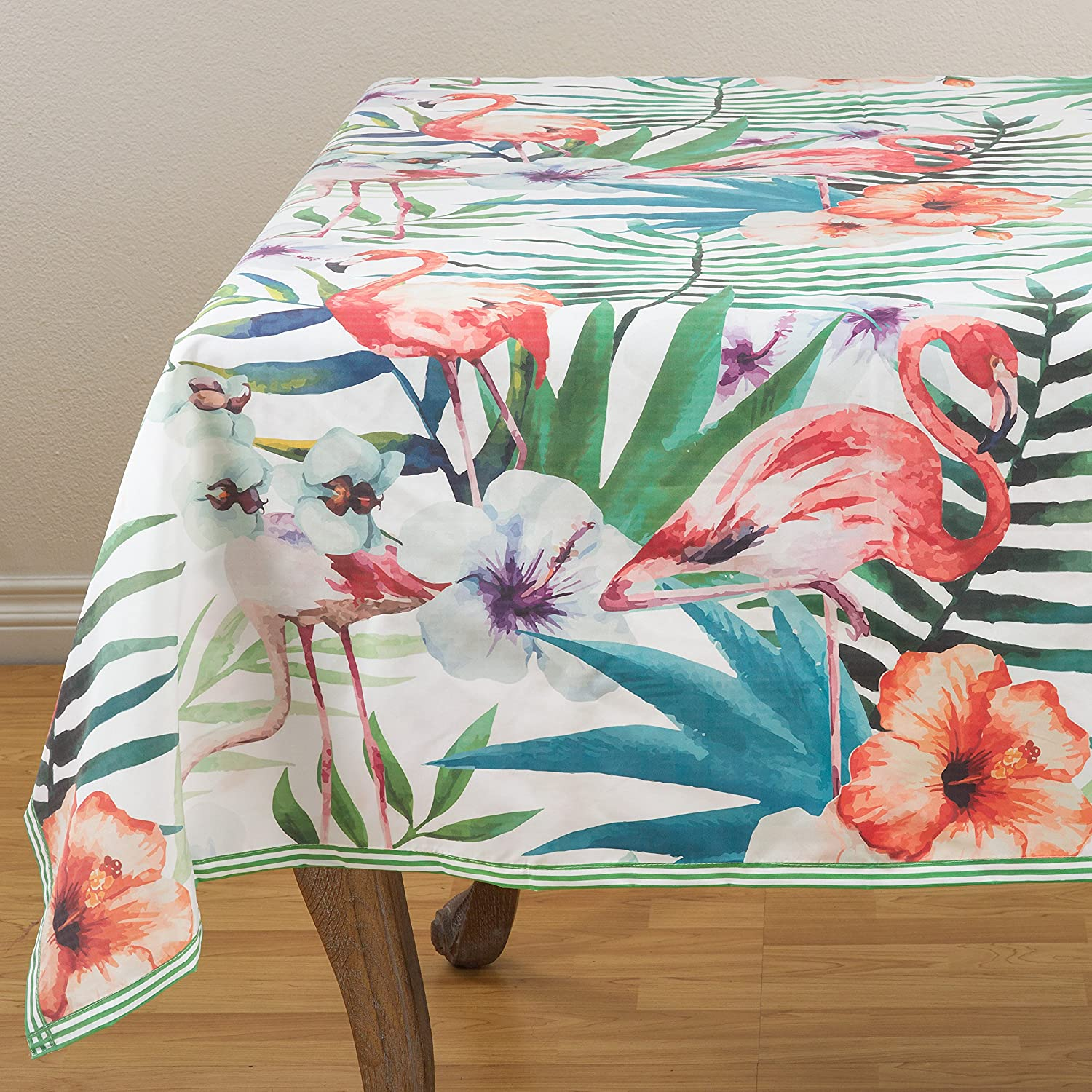 SARO LIFESTYLE 1456.M55S Watercolor Flamingo Print Tropical Tablecloths 55 Multicolor