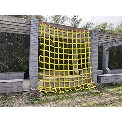 Fong 10 ft X 10 ft Climbing Cargo Net Heavy Duty Yellow (3m x 3m)- Military Climbing Net- Indoor Climbing Net - Outdoor Climbing Net - Jungle Gyms, Obstacle Courses - Both for Kids and Adult: Sports & Outdoors
