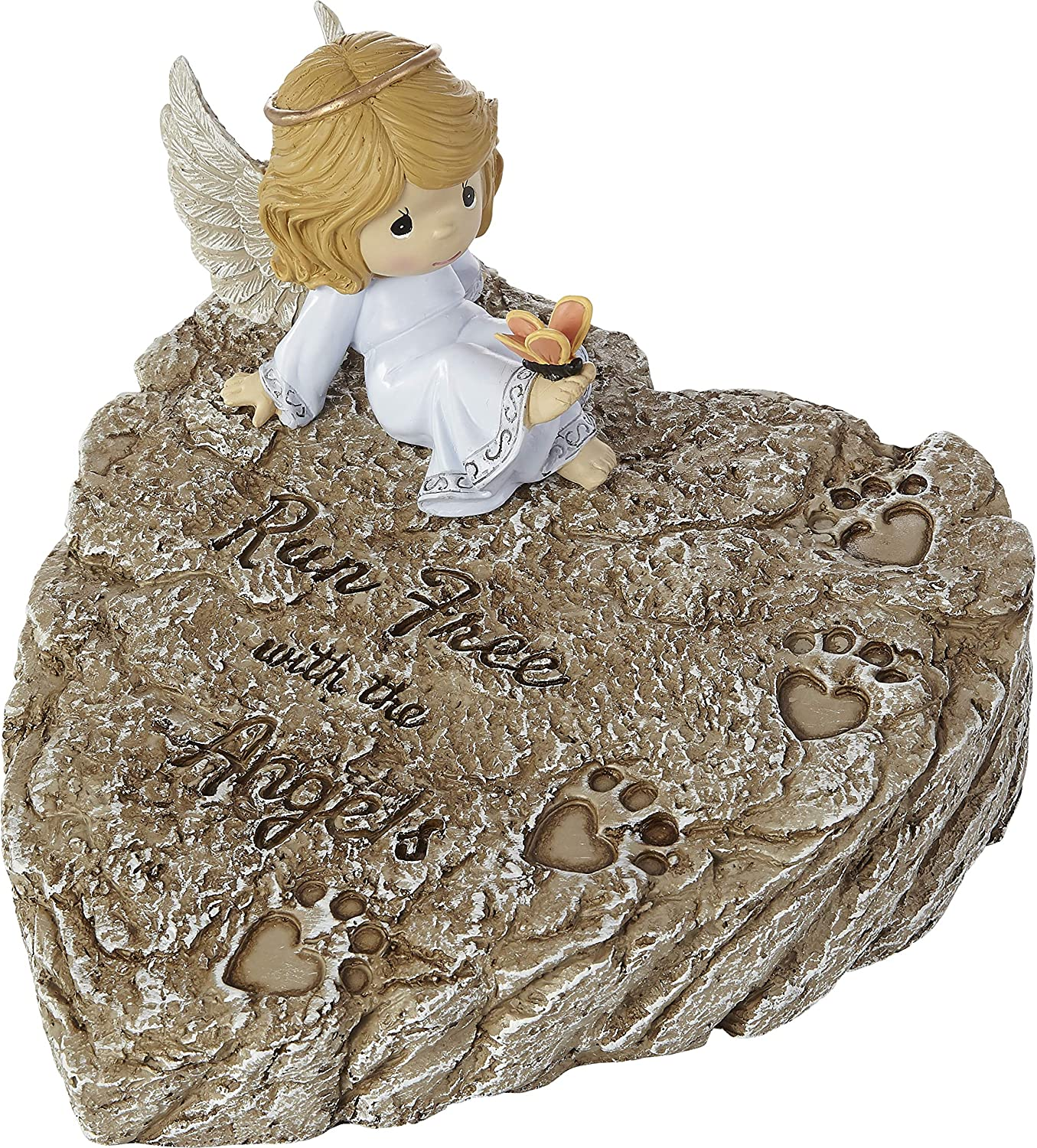 Precious Moments 202425 Run Free with The Angels Resin Memorial Garden Stone, One Size, Multicolored
