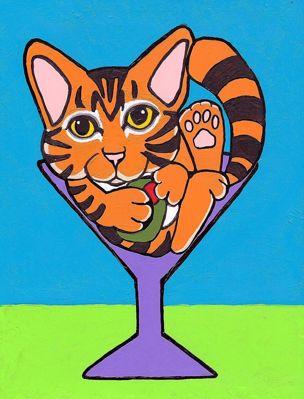 Playful BLACK KITTEN Cat Art Print by VERN oil Painting