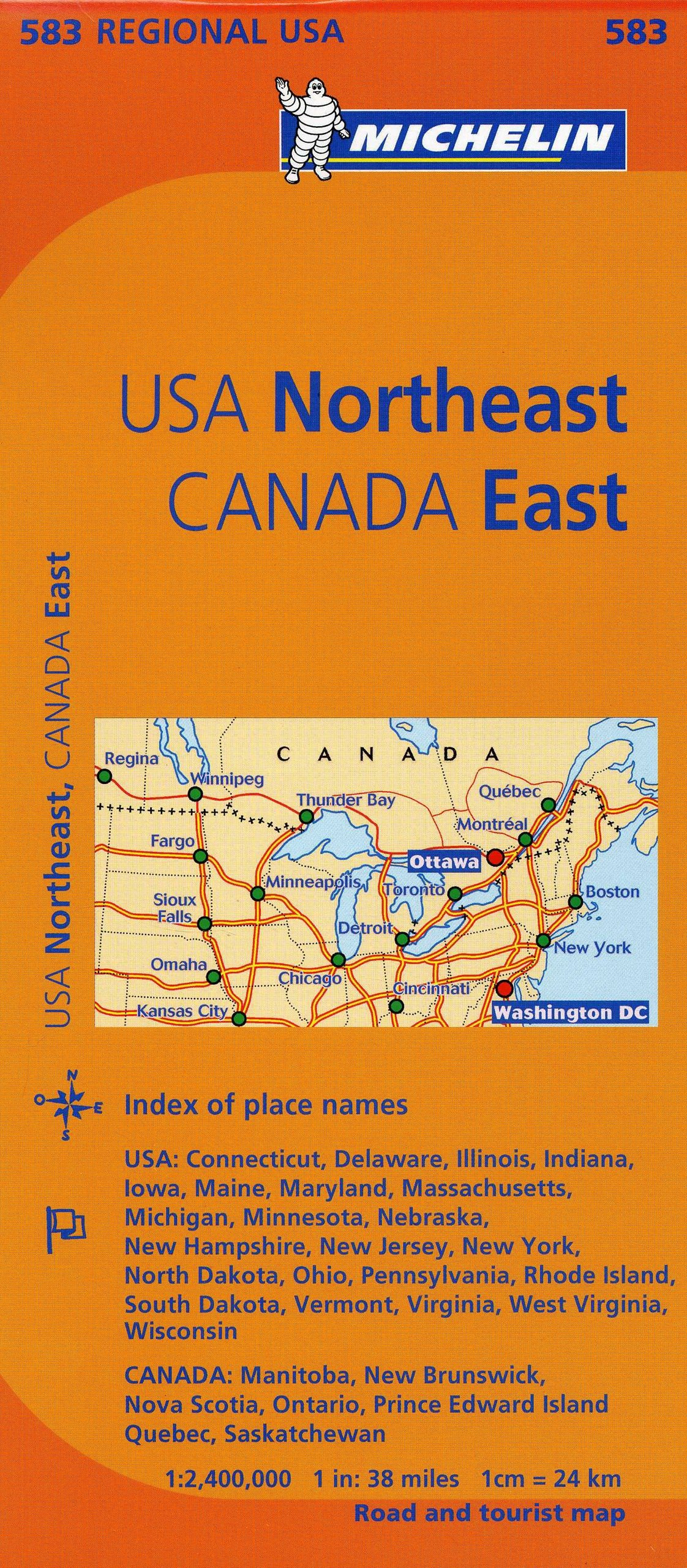 Michelin Usa: Northeast, Canada: East Map 583 Michelin Regional Maps ...