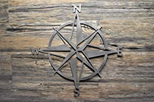 """16"""" to 30"""" Nautical Star Compass Steel Wall Decor hanging art, Made in U.S.A. Various finishes, sizes"""