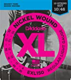 D'Addario Cordes en nickel pour guitare électrique D'Addario EXL150, 12 cordes, Regular Light, 10-46
