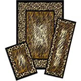 Achim Home Furnishings Capri 3-Piece Rug Set, Leopard Skin