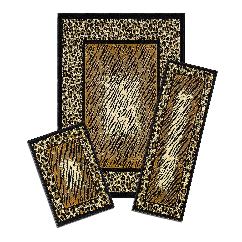 Great Achim Home Furnishings Capri 3 Piece Rug Set, Leopard Skin