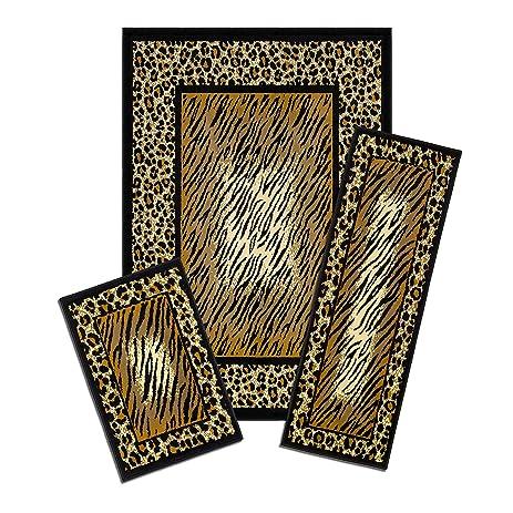Elegant Achim Home Furnishings Capri 3 Piece Rug Set, Leopard Skin