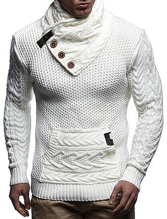 9263c28ae917 LEIF NELSON Herren Strick-Pullover   Strick-Pulli mit Schalkragen   Moderner  Winter Woll