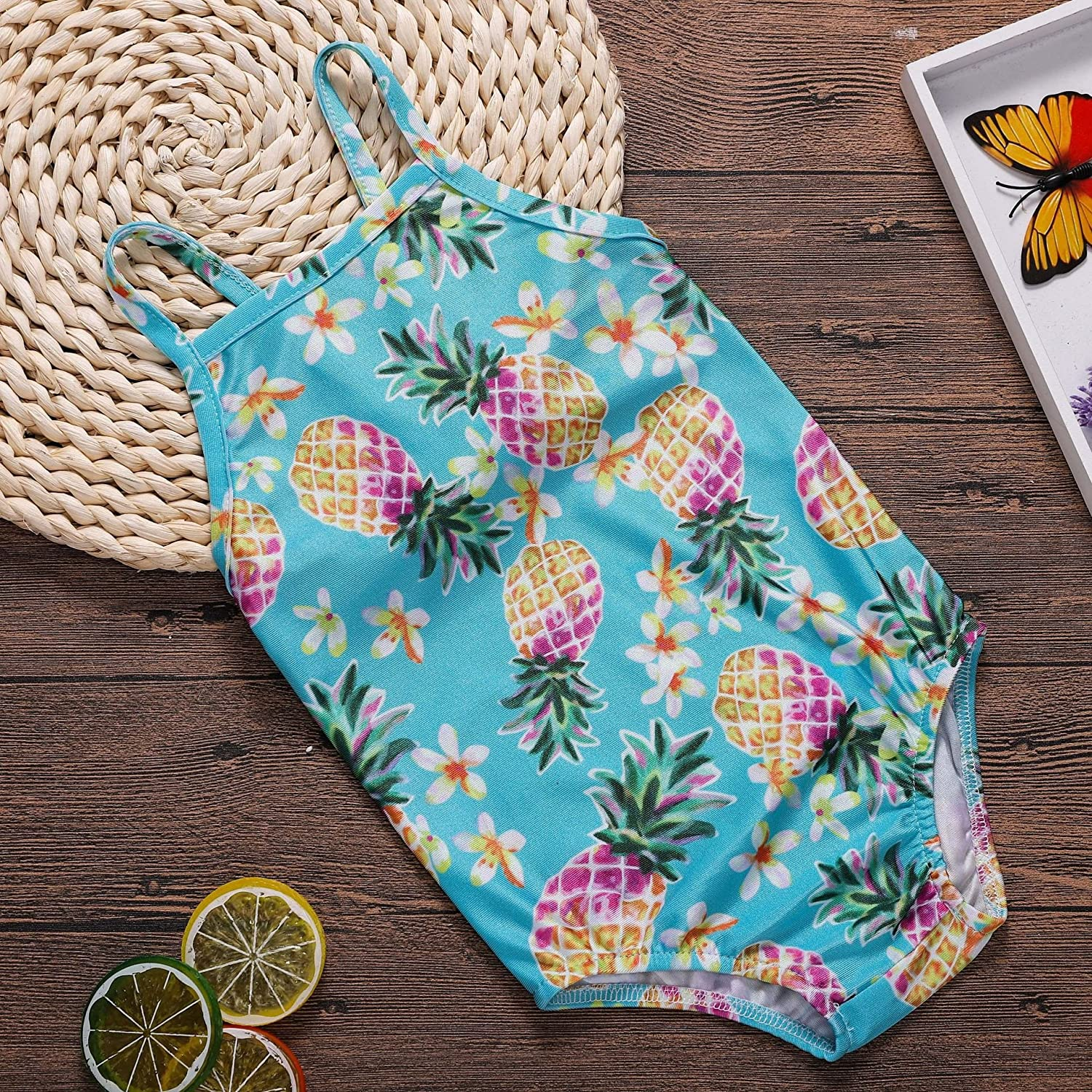 Toddler Baby Girl one Piece Swimsuit Pineapple Swimwear Backless Halter Sunsuit Summer Beachwear Outfit