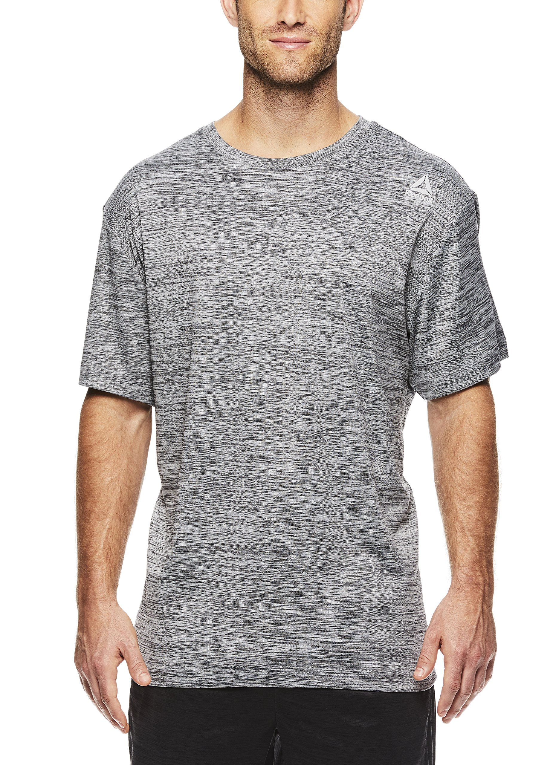 Reebok Men's Supersonic Crewneck Workout T-Shirt Designed with Performance Material - Dark Shade Space Dye Grey, Small