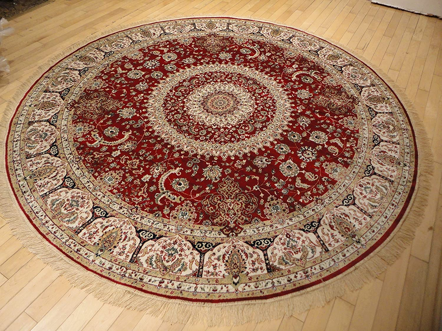 Amazon.com: Stunning Silk Persian Area Rugs Traditional Design Red Tabriz  6x6 Round Shape Rug Red Circle Rugs Red Silk Traditional Round Rugs Living  Room ...