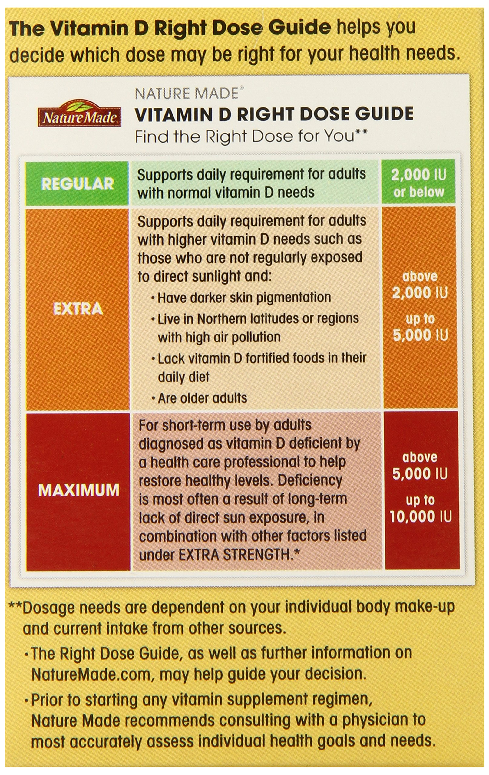 Nature Made Maximum Strength Vitamin D3 10,000 I.U. Soft gel, 60 Count by Nature Made (Image #5)