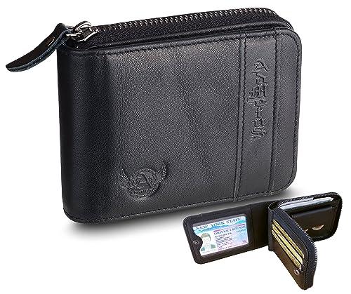 ff3501a50671 Admetus Men's Genuine Leather Bifold Zip-around Wallet with Elegant Gift  Box Black 3