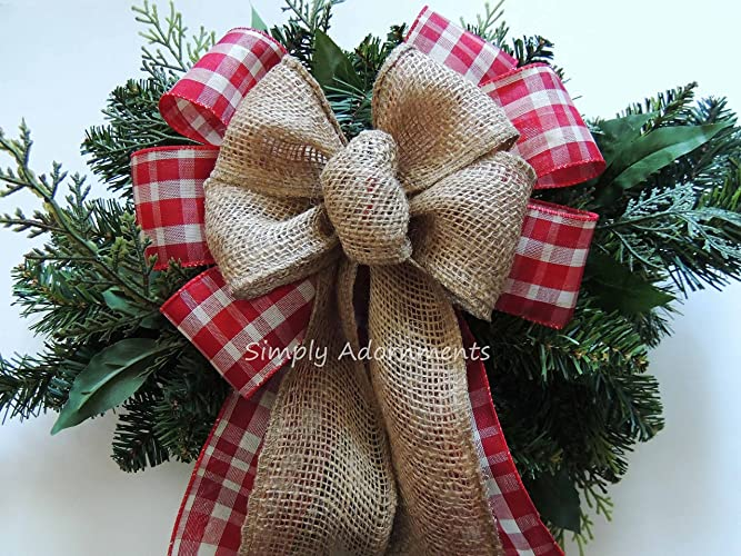 woodland plaid christmas bow rustic burlap christmas plaid bow red cream tartan christmas cabin wreath bow - Burlap Christmas