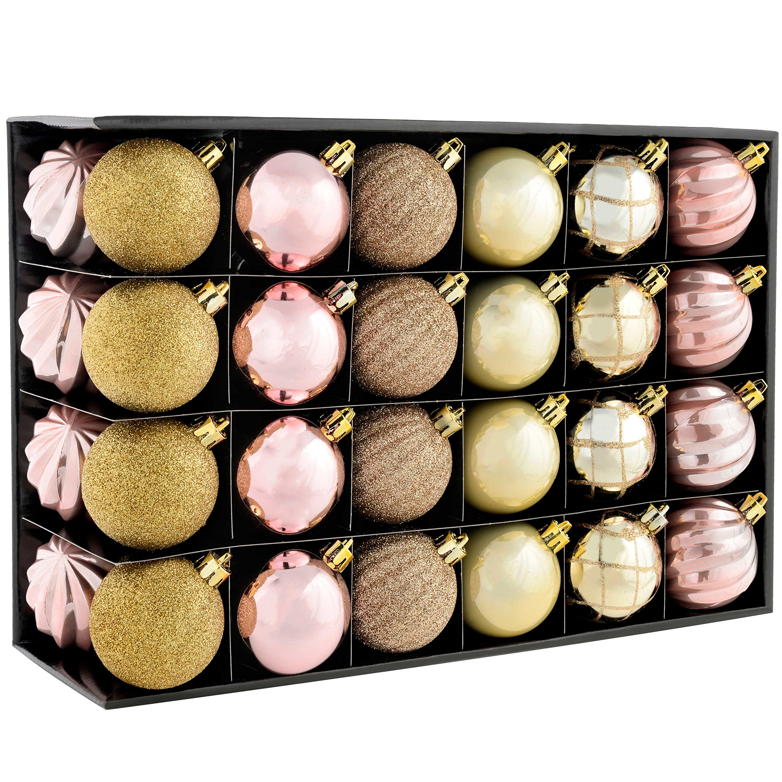 WeRChristmas Shatterproof Luxury Christmas Tree Baubles, 48-Piece - Champagne/Mauve