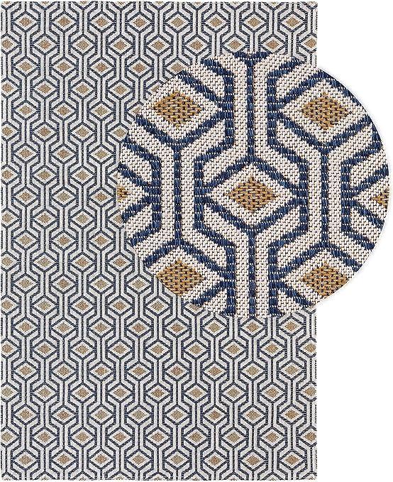 benuta NaturalLS - Alfombra de algodón Lavable, Azul y Amarillo ...