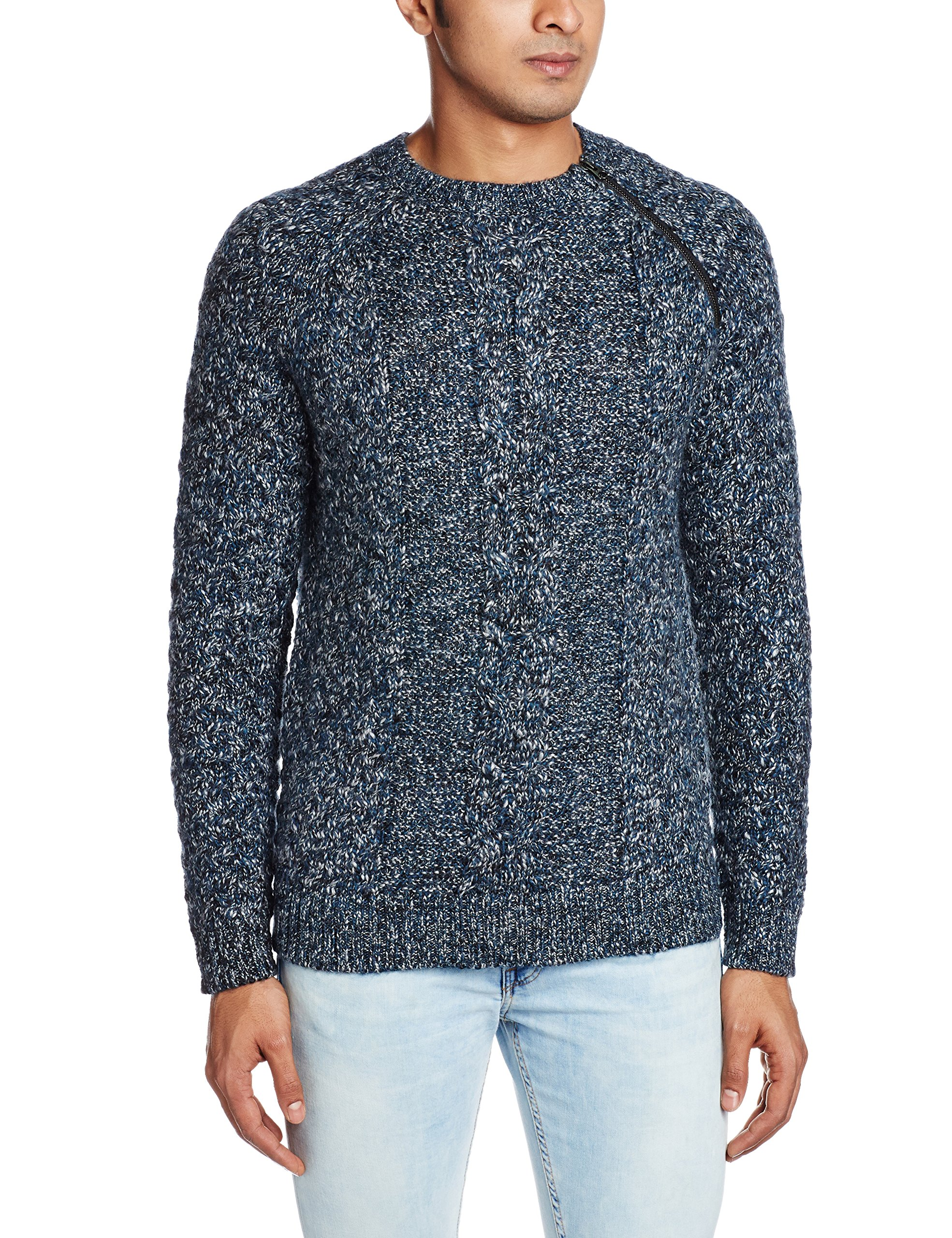 French Connection Men's Ryder Cable Knit Sweater with Zip, Majolica Blue, Small