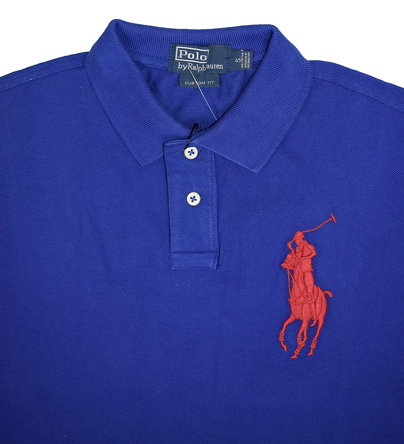 cd2055dad Ralph Lauren Men's Custom Fit Long Sleeve Polo Shirt - Big Pony (Small,  Royal Blue (Red Pony)): Amazon.co.uk: Clothing