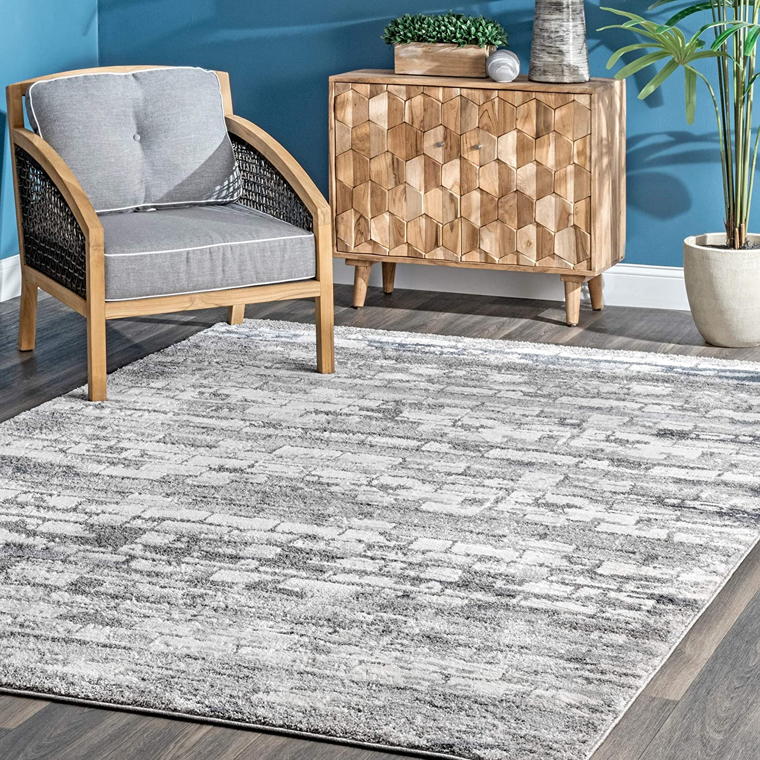 Amazon Com Nuloom Nevelson Brick Abstract Area Rug 5 X 8 Silver Furniture Decor