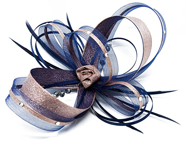 f18980b37b Navy blue fascinator with Rose Gold lurex trim and sparkling ...