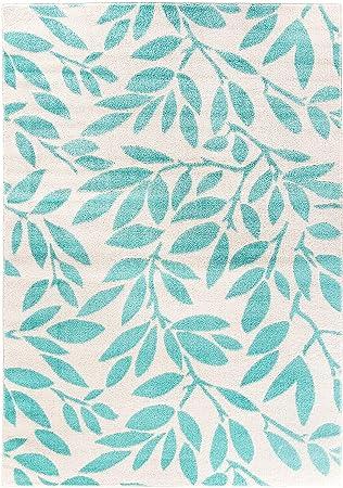 Carpetforyou Designer Kurzflor Teppich Mint Vine Minze Grün Blau Creme In 4  Größen Ideal Für