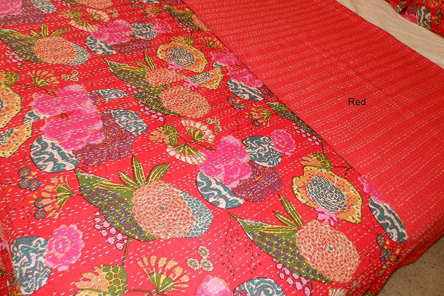 Christmas Home Decor Kantha Quilt Queen Comforter Tropical bedding