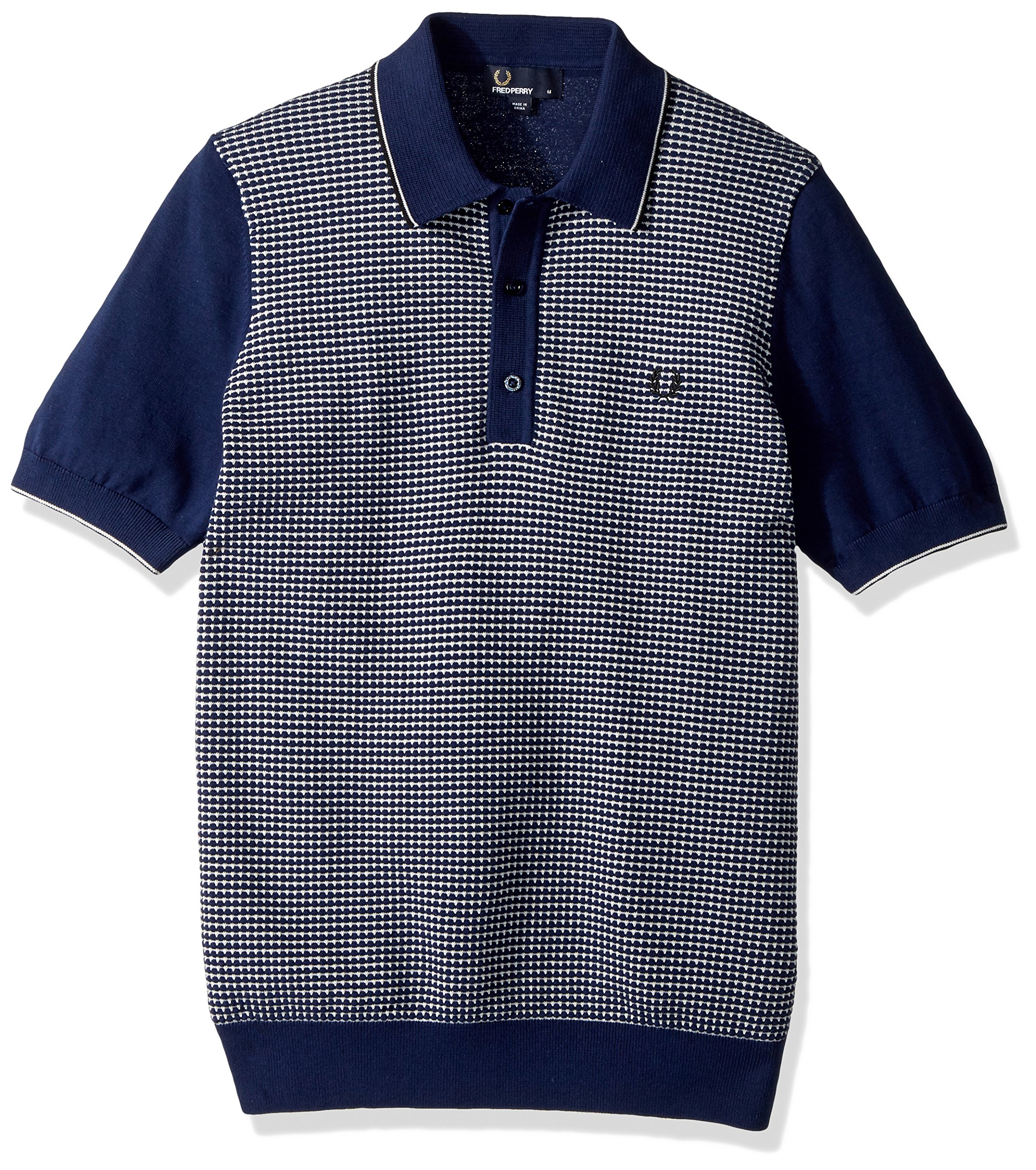 Fred Perry Men's Textured Knitted Shirt, Rich Navy X-Small
