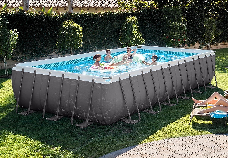 Intex 26376uk Ultra Rahmen, rechteckig, Pool Set, grau/blau, 32 x 16 ...