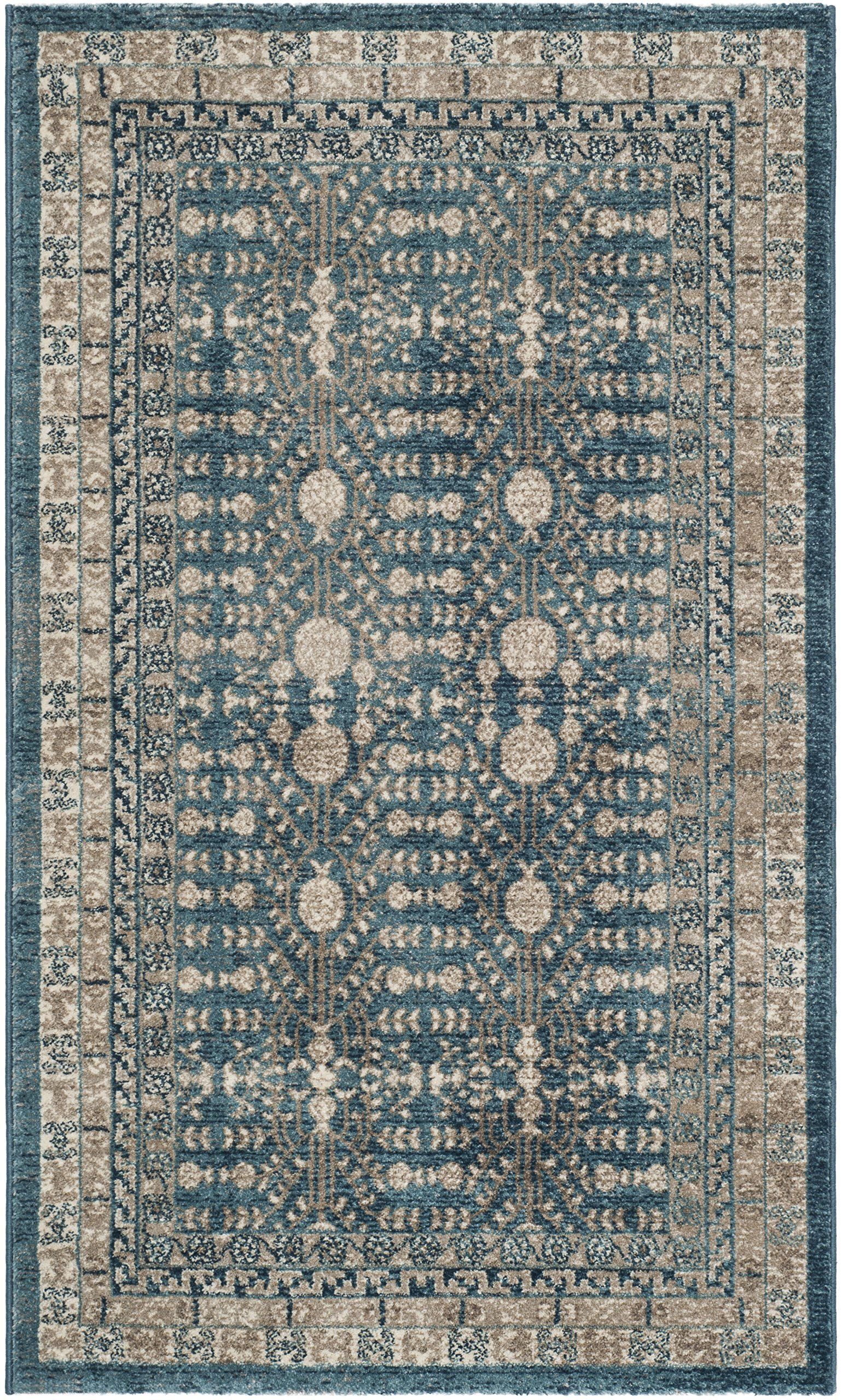 Safavieh Sofia Collection SOF376C Blue and Beige Area Rug (3' x 5') - The high-quality polypropylene pile fiber adds durability and longevity to these rugs The power loomed Construction add durability to this rug, ensuring it will be a favorite for a long time The modern style of this rug will give your room a contemporary accent - living-room-soft-furnishings, living-room, area-rugs - A1p0qCAhkQL -