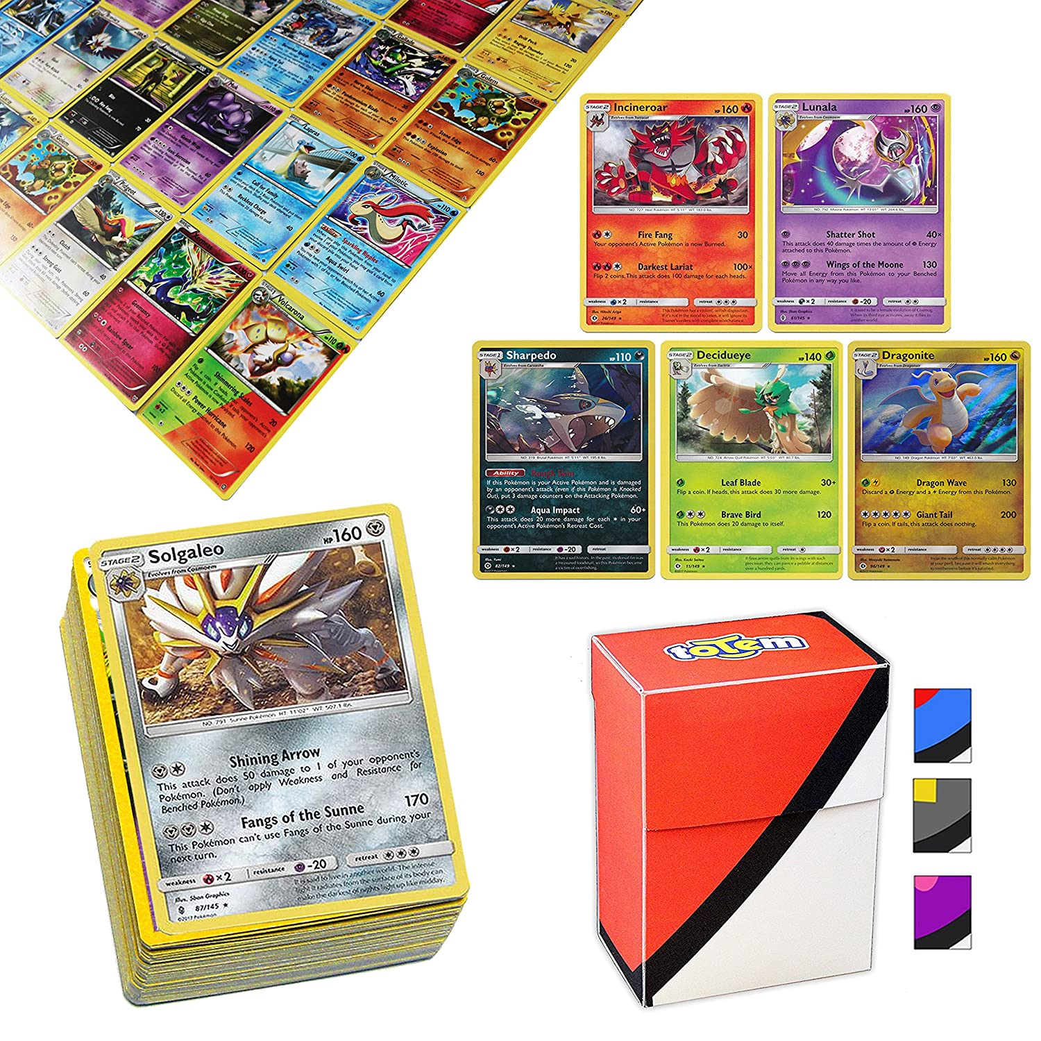 100 Pokemon Cards with 5 Holo Rare Cards and Totem Deck Box Assortmart